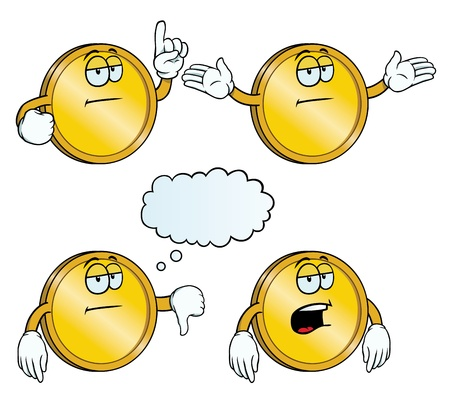 Bored golden coin set Vector