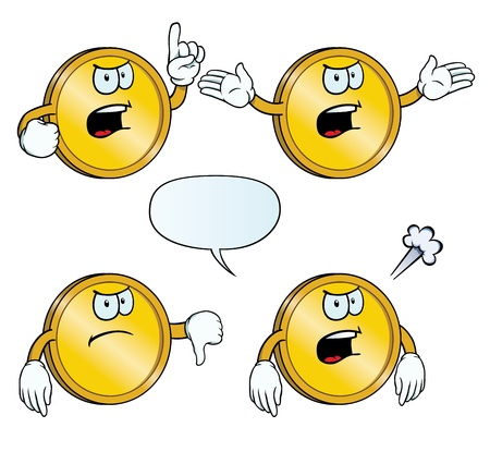Angry golden coin set Vector