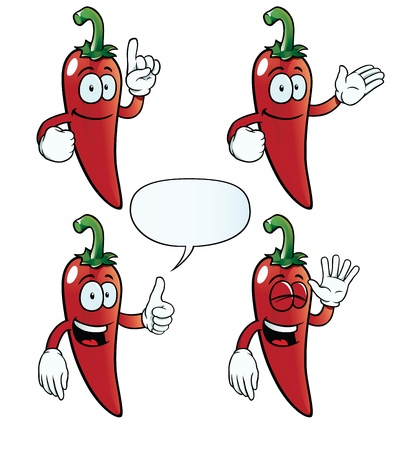 jalapeno: Smiling chili pepper set Illustration