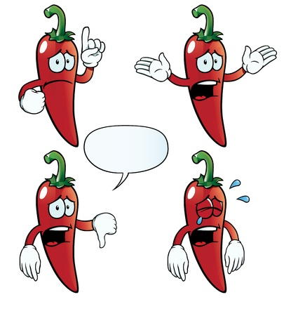 red hot pepper: Crying chili pepper set Illustration