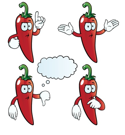 red jalapeno: Thinking chili pepper set