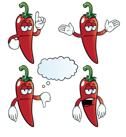 Bored chili pepper set Stock Vector - 18724307