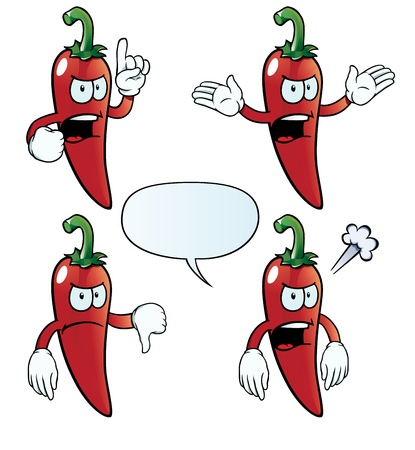 Angry chili pepper set Vector