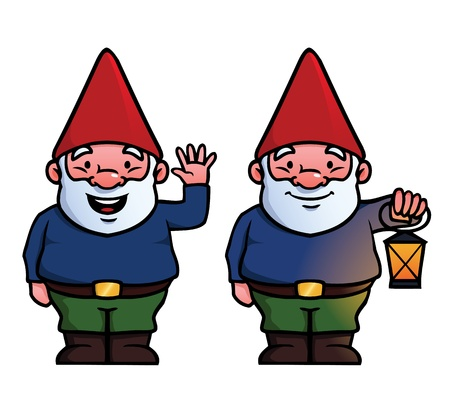 gnomes: To garden gnomes, one waving and one holding a lamp. Illustration