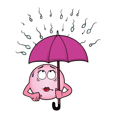 unwanted: Egg cell holding an umbrella against a rain of sperm. Illustration