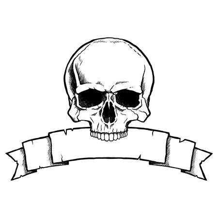 Black and white human skull with a ribbon banner. Stock Vector - 21600210