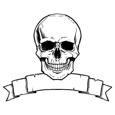 Black and white complete human skull with a ribbon banner. Illustration