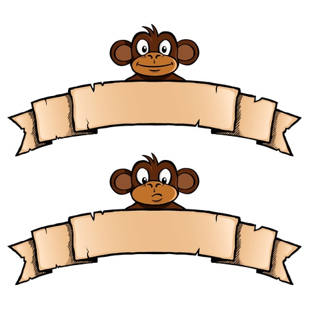 Smiling and confused monkey with ribbon banner Vector