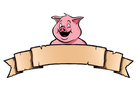 cartoon pig: Smiling pig with ribbon banner Illustration