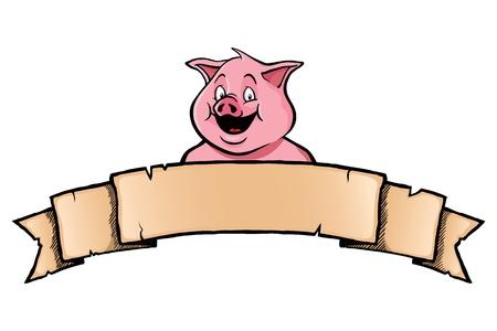 cerdo caricatura: Sonreír cerdo con bandera de la cinta