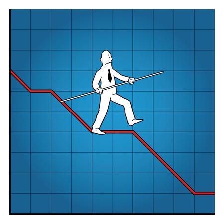 decline: Business man balancing on declining graph