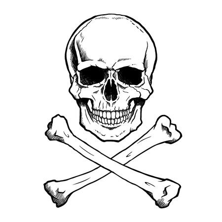 Preto e branco crânio humano e ossos cruzados.