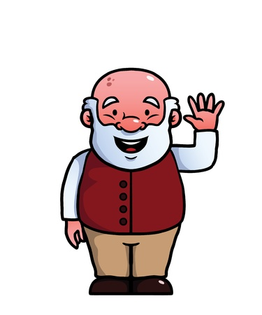 happily: Old man waving happily at the camera Illustration