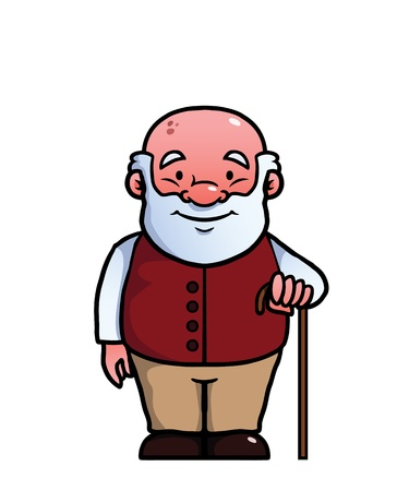Old man holding a cane and smiling. Vector