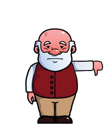 disapproving: Il vecchio in annoia e dando un pollice in gi�.