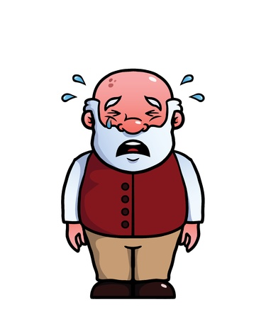 bald man: Old man being sad and crying.