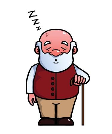 pensionado: Anciano durmiendo y roncando con un bastón en la mano.
