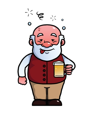 Old man holding a beer while being drunk. Vector
