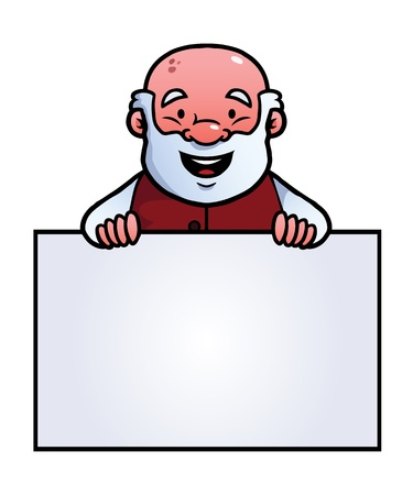 Old man holding a blank sign and smiling. Illustration