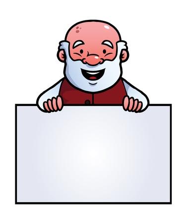 pensionado: Viejo hombre que sostiene un cartel en blanco y sonriente.