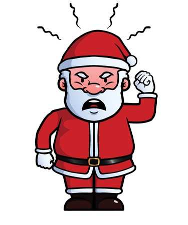 temper: Santa Claus being angry and waving his fist. Illustration
