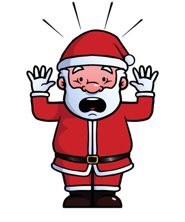 Santa Claus being shocked with his hands up. Illustration