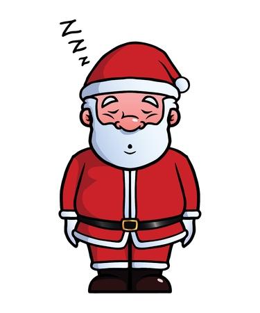 snoring: Santa Claus sleeping and snoring.