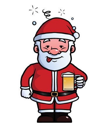inebriated: Santa Claus holding a beer while being drunk.