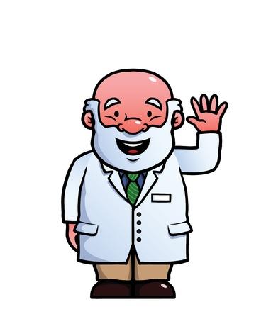 goodbye: Scientist waving happily at the camera Illustration