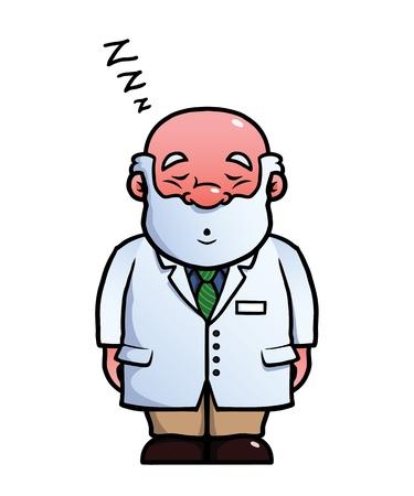 snoring: Scientist sleeping and snoring.