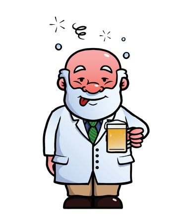 inebriated: Scientist holding a beer while being drunk.