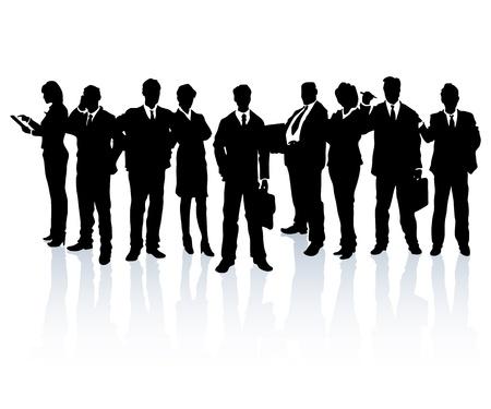 personas de pie: Siluetas de personas de negocios que forman un equipo. Vectores