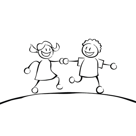 Two black and white kids holding hands and running on a hill. Vector