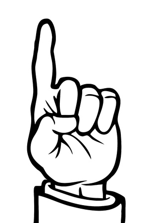 finger pointing up: Black and white hand with its index finger pointing upwards.