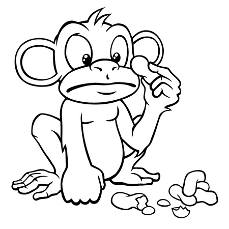Black and white cartoon monkey looking at some peanuts. Vector