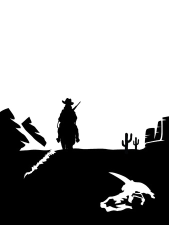 Black and white cowboy on a horse in the desert. Vector