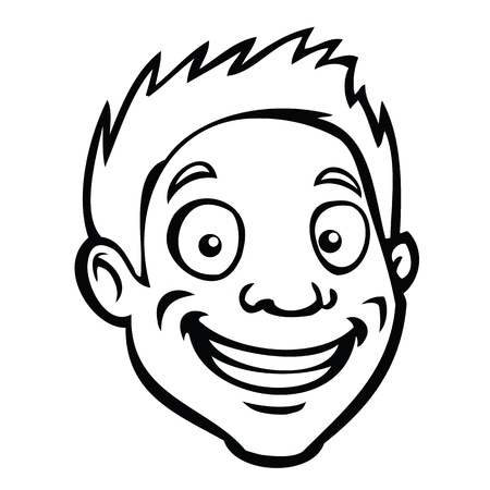 teenagers laughing: Black and white smiling cartoon guy.