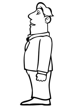 gazing: Black and white business man looking upwards.