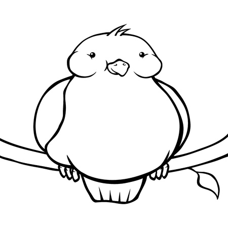 smirking: Black and white fat cartoon bird sitting on a branch.