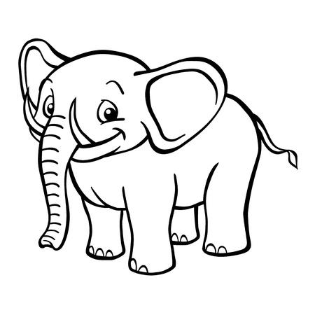 Black and white happy cartoon elephant looking at the camera.