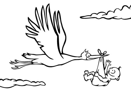 Black and white stork delivering a baby. Vector