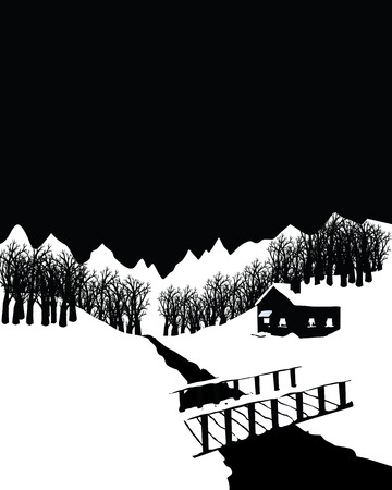 Black and white winter landscape with a cottage in the woods.
