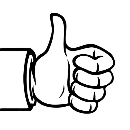 Black and white hand showing a thumbs up.