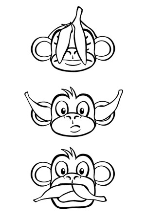 rendition: Black and white rendition of the three wise monkeys.
