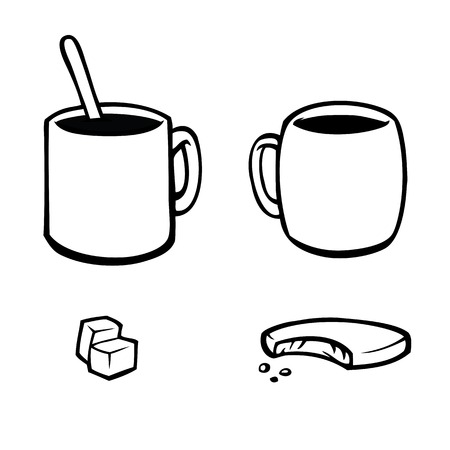 sugar spoon: Black and white icons of coffee and tea cups with food. Illustration