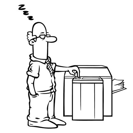 fotocopiadora: Empleado en blanco y negro que se coloca en la máquina de la copia.