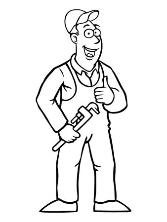 Black and white plumber holding a wrench and his thumbs up Vector