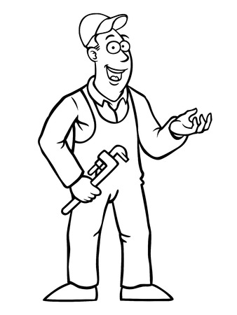workwear overall: Black and white plumber with a wrench showing something Illustration