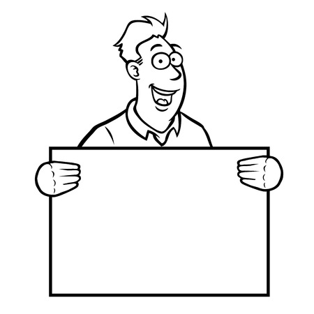 Black and white man holding a sign Stock Vector - 22697950