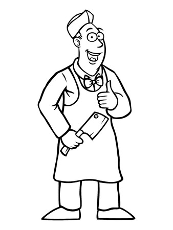 Black and white butcher holding a cleaver and his thumbs up Vector